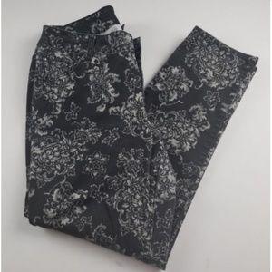 Lane Bryant Black & Gray Floral Tapered Leg Jeans